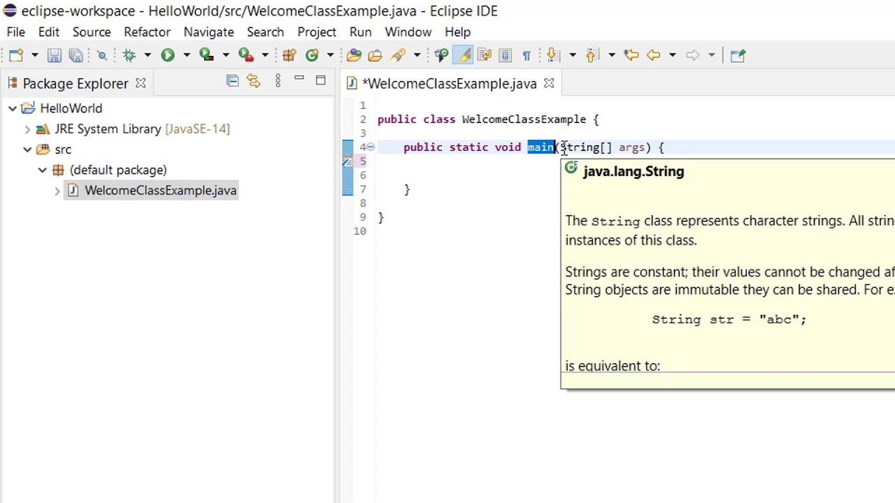 Java Hello World Example in Eclipse - YouTube