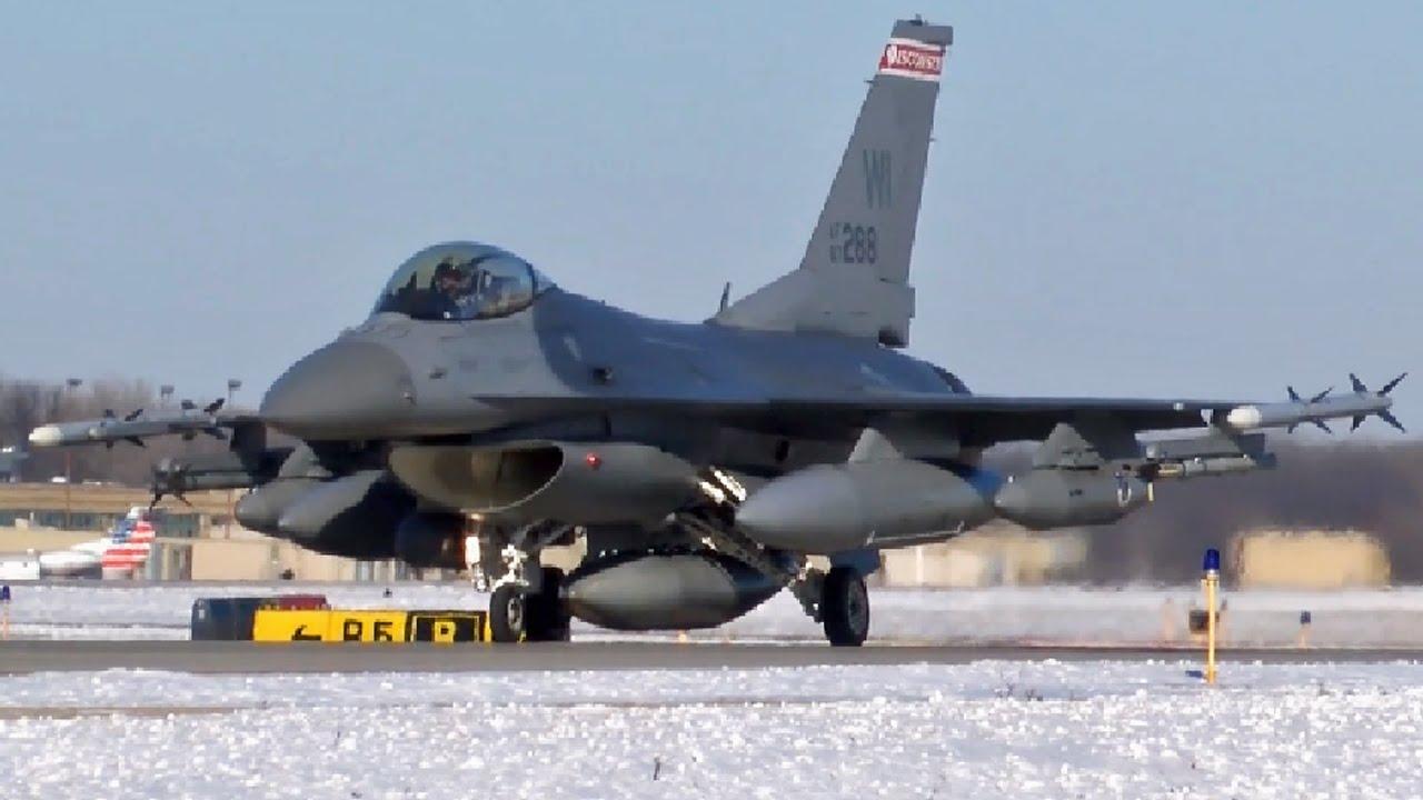 嘉手納基地に空軍州兵所屬のF-16C戦闘機を暫定配備 - YouTube