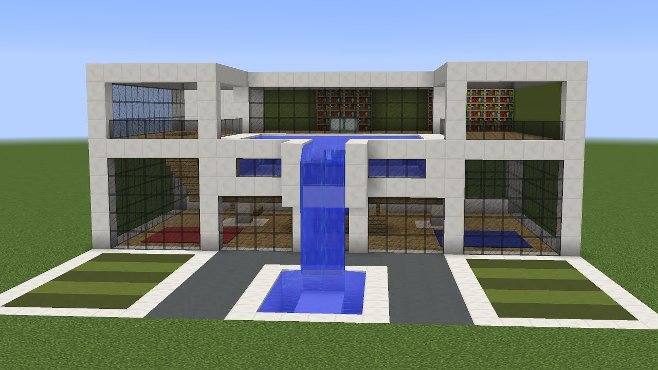 Minecraft - How to build a modern house 11 - YouTube
