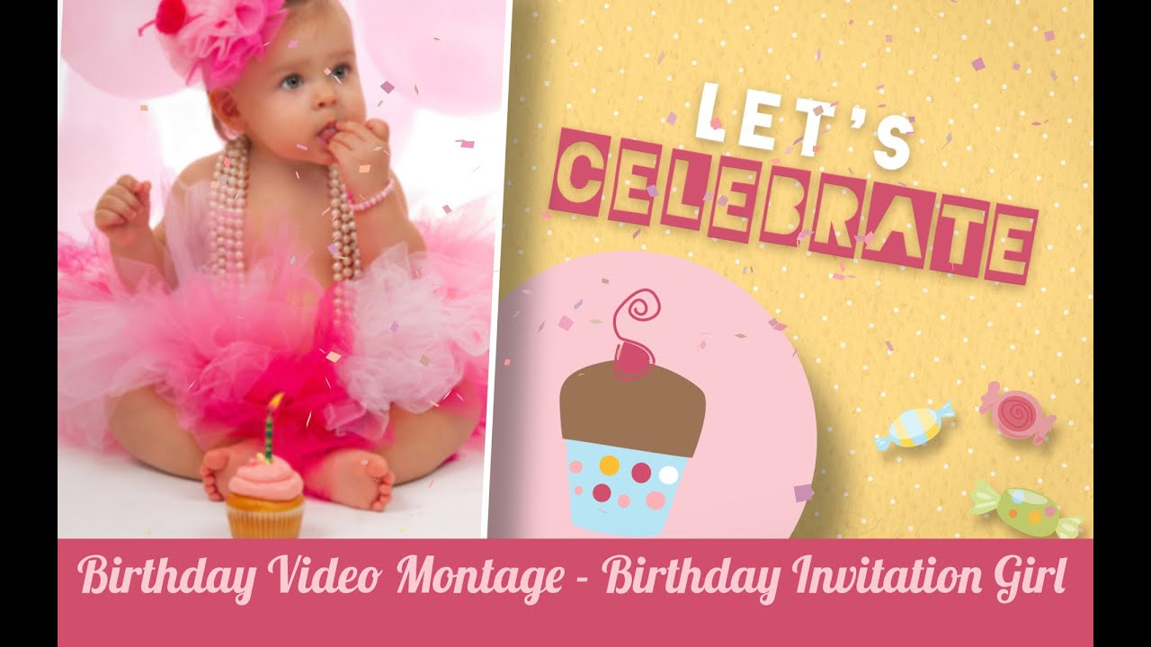 First Birthday Video Montage Girl Birthday Video Invitation