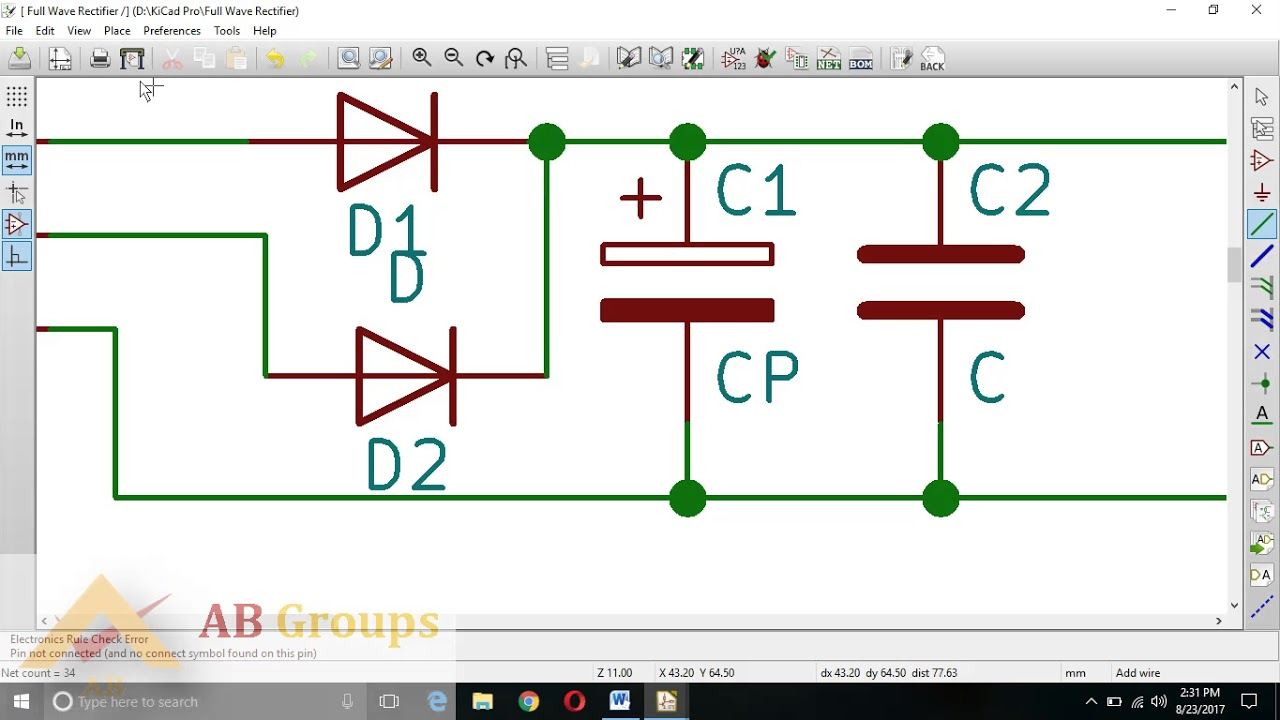 Kicad Pcb Design On Full Wave Rectifier Youtube Circuit