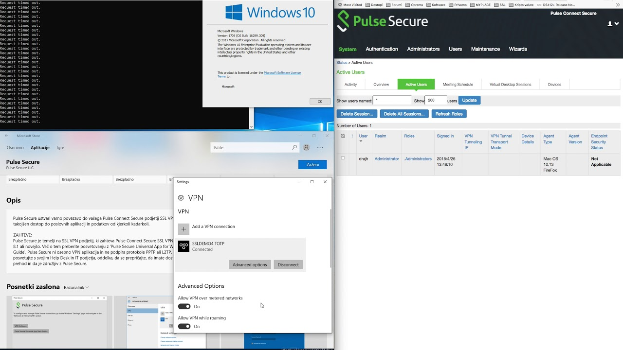 TOTP Pulse Secure with built in VPN Client (Windows 10)