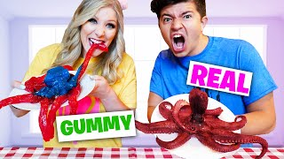 Real vs Gummy Food Bite, Lick, Nothing Challenge!