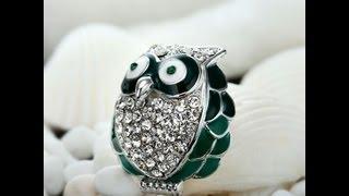 Pave Crystal Enamel Owl Lapel Pin Brooch Silver