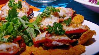 اسكالوب الدجاج من نبيل مع الباذنجان وجبنة البيرميزان - نضال البريحي