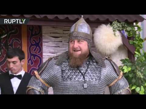 Кадыров отметил День чеченской женщины в доспехах и с копьем