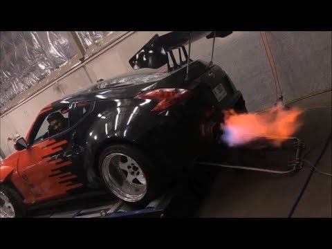 AIMGAIN Nissan 370Z Huge Flames On Dyno Tuned With ARMYTRIX Exhaust And EcuTek