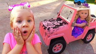 Diana playing Car Wash with Cleaning Toys thumbnail