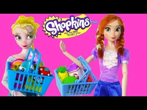 Disney Frozen Eating Shopkins Queen Elsa Princess Anna Barbie House Dolls Part 1