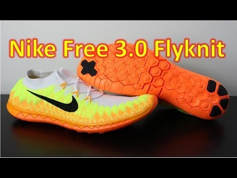 finest selection 39d39 1b0ca Nike Free Flyknit 3.0 2014 White Volt Laser Orange - Unboxing + On Feet -  YouTube
