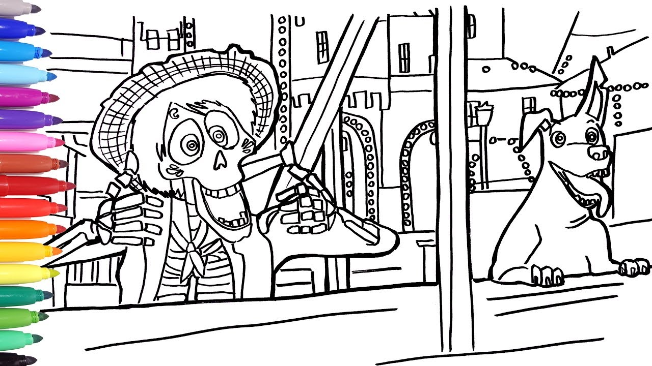 Coloring Hector And Dante Disney Coco Coloring Pages Painting Coco Best Memorable Scene