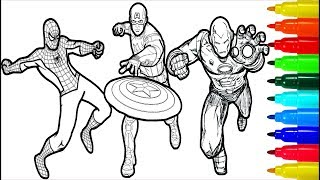 Spiderman Iron Man Captain America Wolverine Thor Hulk Coloring Pages | Superheros Coloring Pages