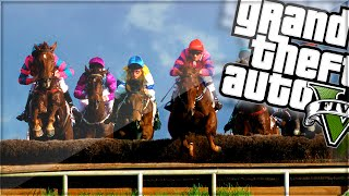 EXPLOSIVE HORSE TRACK RACE! (GTA 5 Funny Moments)