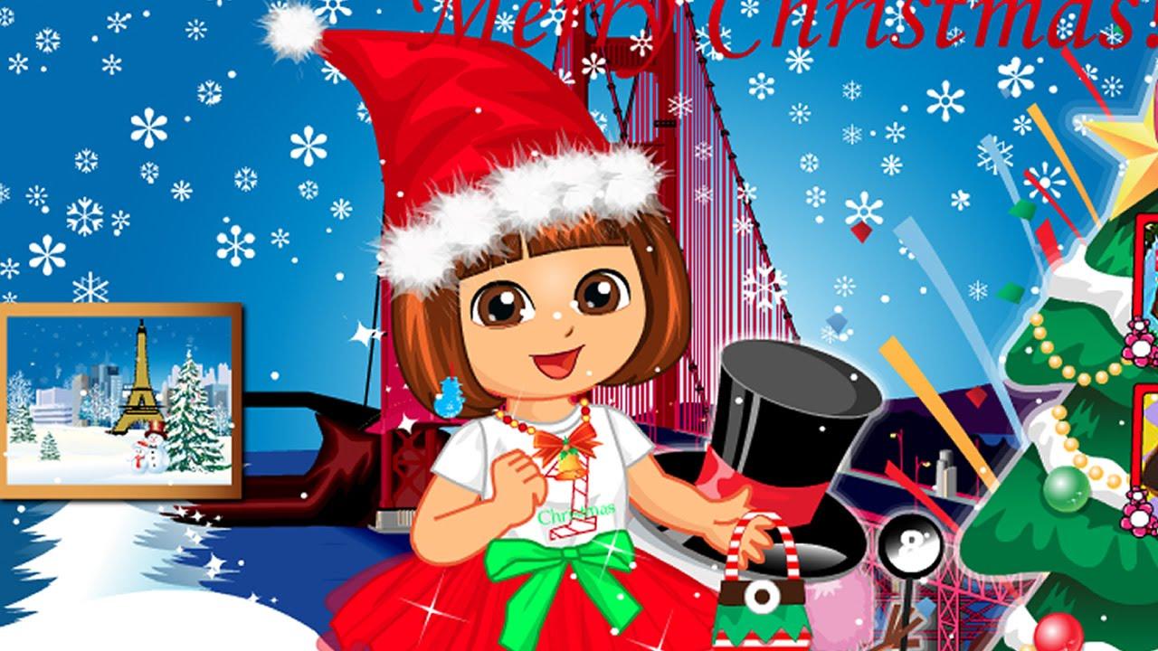 dora christmas travel dressup game for girls dora the