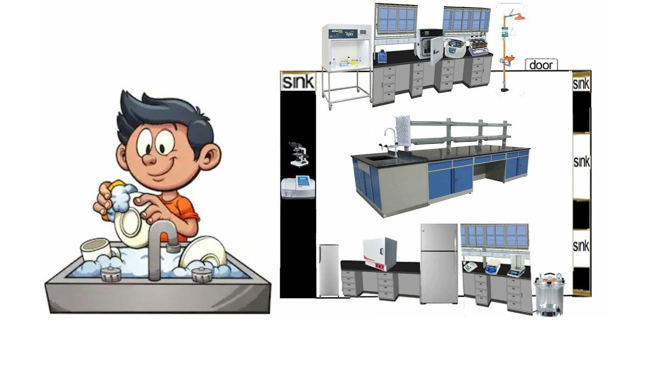Microbiology lab arrangement (Part 2: chemicals & glasses)