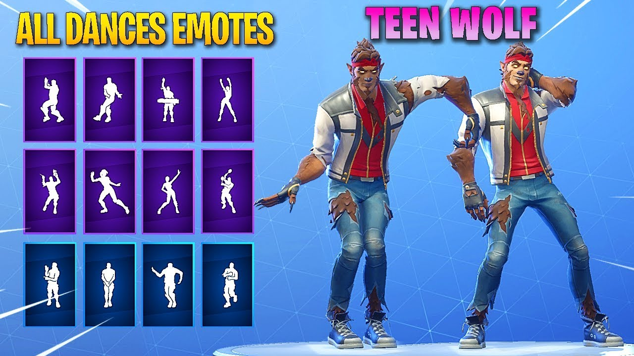 "*NEW* TEEN WOLF ""DIRE"" SKIN SHOWCASE WITH ALL DANCES/EMOTES! Fortnite Battle Royale #1"
