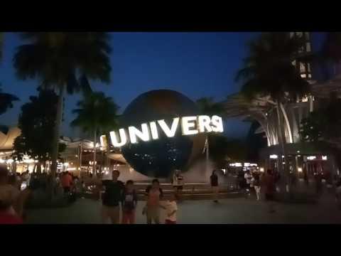 Singapore Universal Studios night view globe