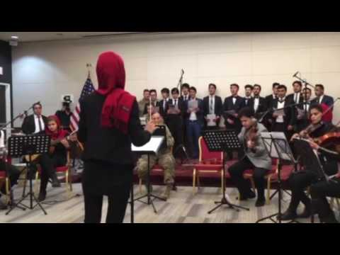 U.S. Forces Afghanistan Band and Kabul University students play