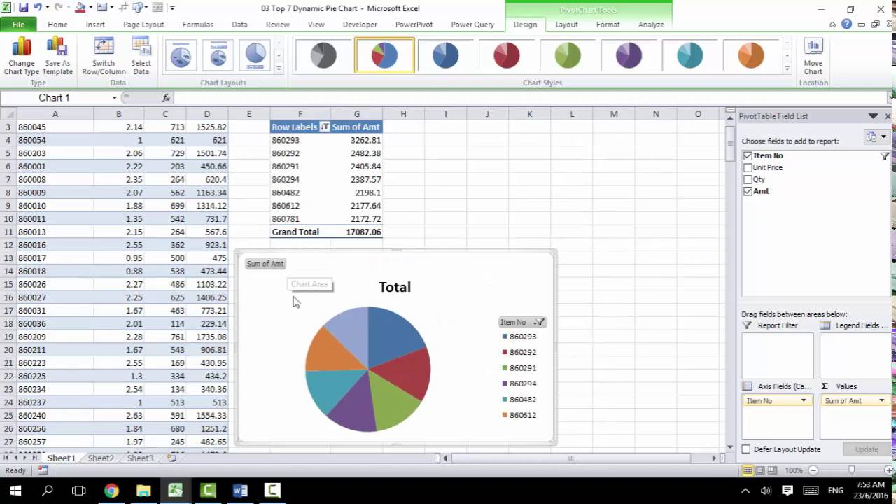 Data analysis top pie chart using pivot with dynamic title also rh youtube