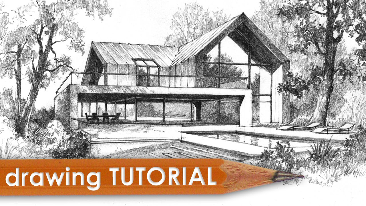 Architectural Drawings Of Modern Houses drawing tutorial - how to draw a modern house - youtube