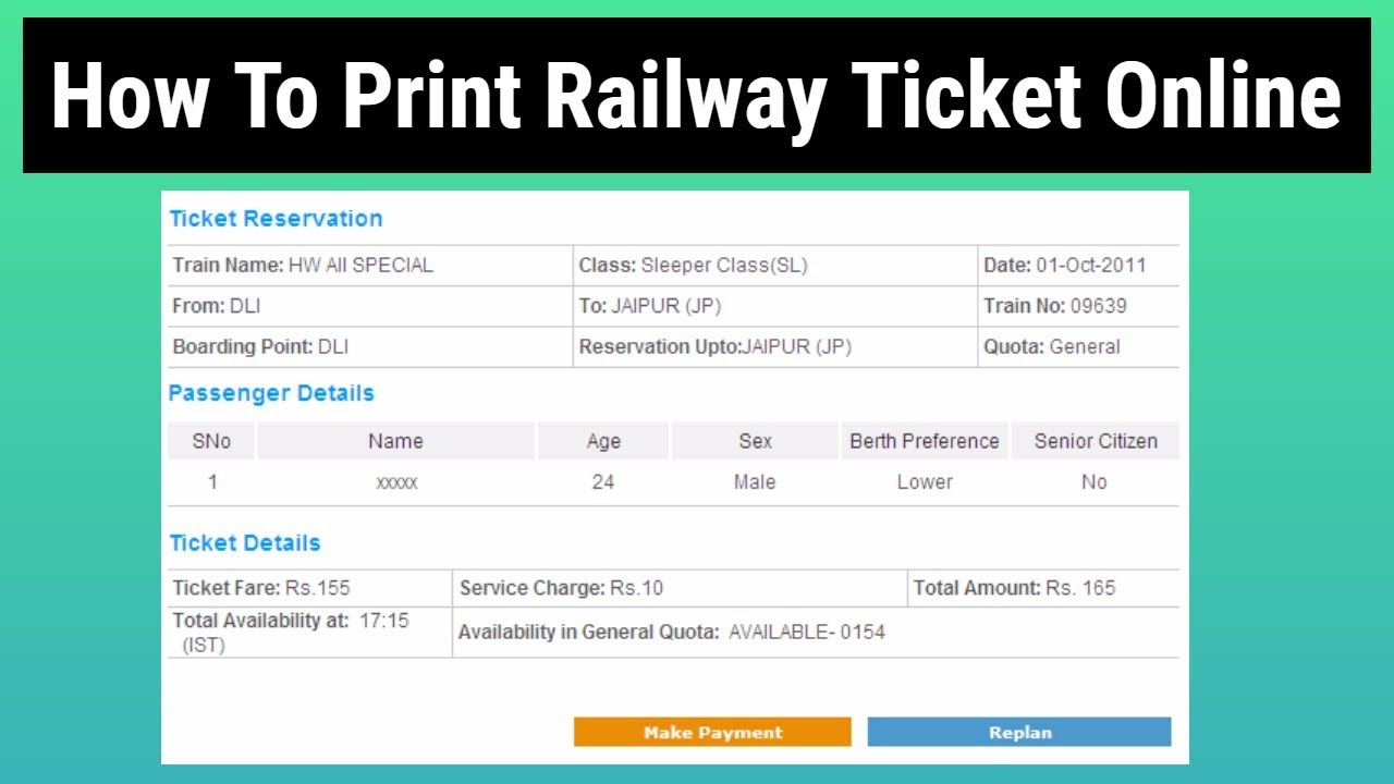 Print Railway Ticket Online