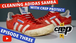 Cleaning 10 Year Old Red Suede Adidas Samba with   Crep Protect   and   Sneaky Trees