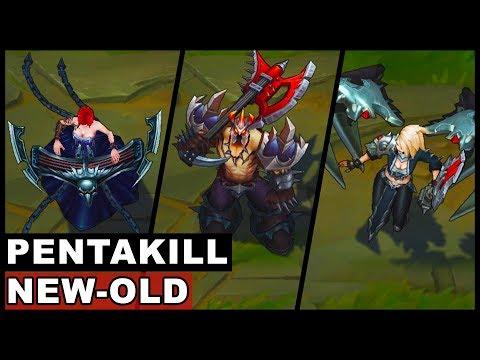 All Pentakill Skins New and Old Kayle Yorick Olaf Mordekaiser Sona Karthus (League of Legends)
