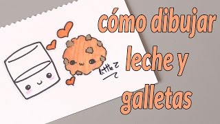 Cómo dibujar un vaso de leche y galleta / How to draw a cute glass of milk and a cookie