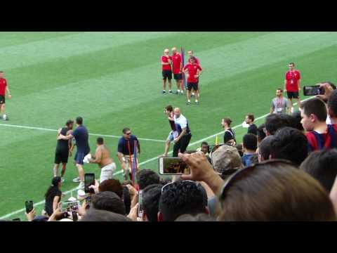 Fans Run On Field During FC Barcelona Practice Red Bull Arena New Jersey July 21, 2017