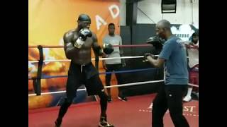 Deontay Wilder look smaller and leaner hitting pads for Luis Ortiz Rematch