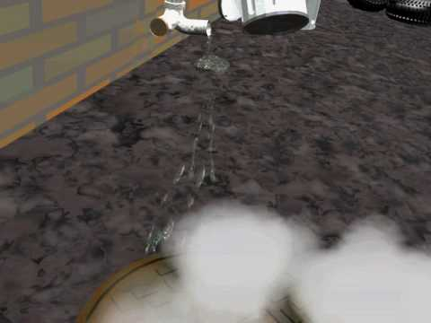 Blender flowing water from drain test