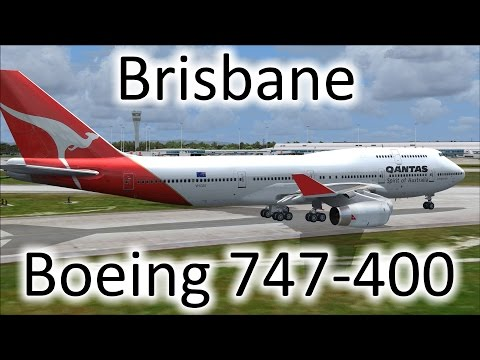 FSX | Qantas 747 Landing at Brisbane, Australia (YBBN) (Multiple Views)