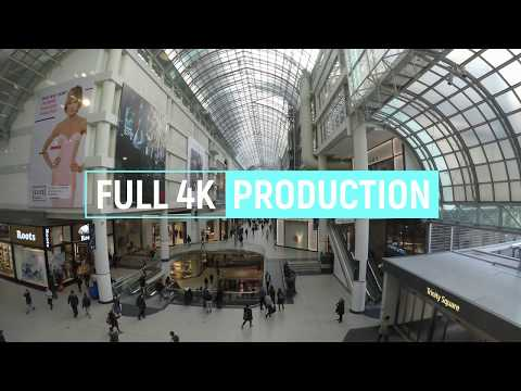 WALKING TOUR 4K UHD: TORONTO, ONTARIO CANADA, THE EATON CENTER SHOPPING MALL, WINTER SEASON 2018