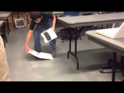 Kid breaks computer in tech class!