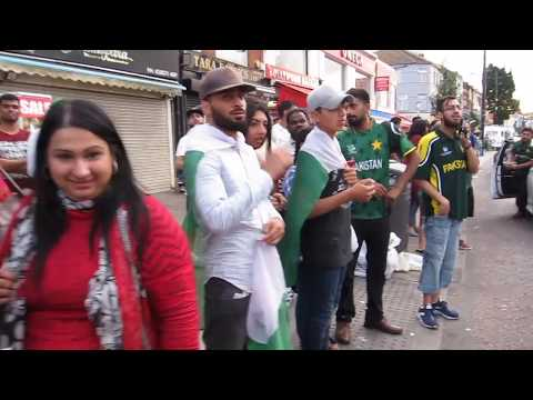 Pakistan Cricket Fans Celebrating Win in Southall