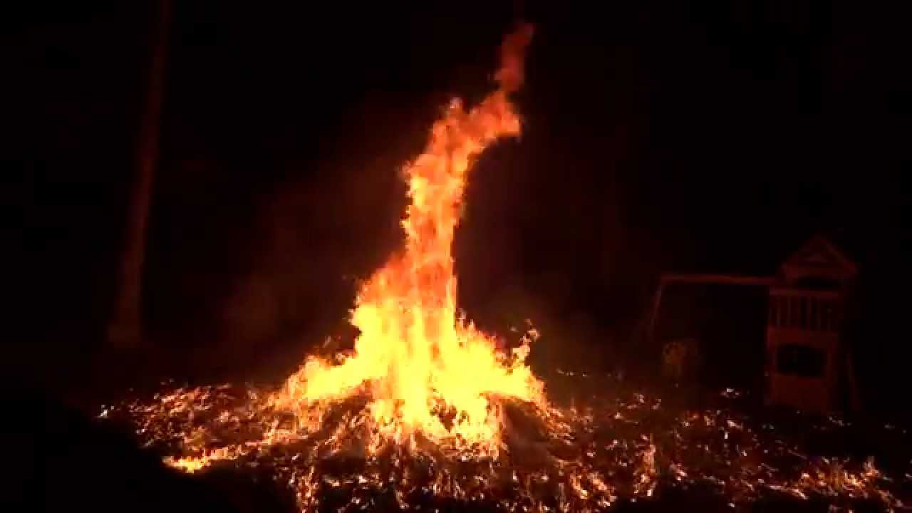 Huge Leaf Fire Explosion