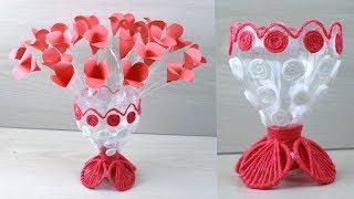 Plastic Bottle Recycle Flower Vase Craft - PaperCraft - Woolen Flower Vase - Home Decor idea