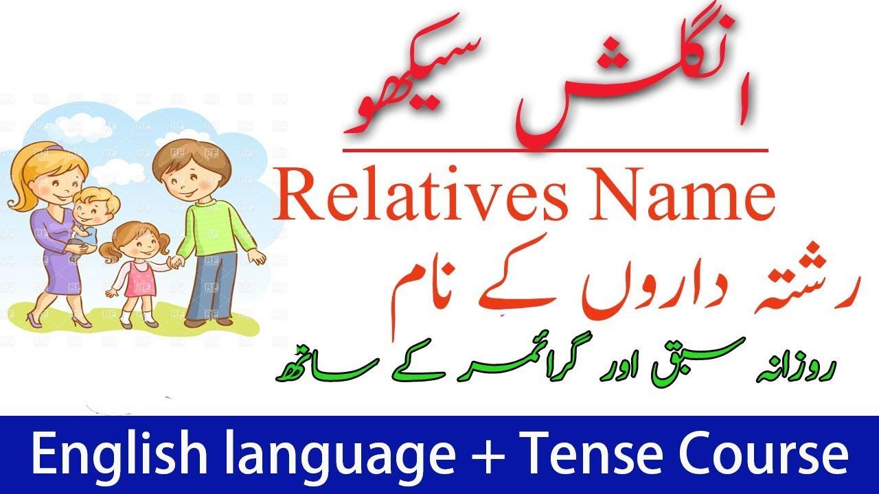 Relatives name in English Urdu | English course in Urdu | language plus  tense course