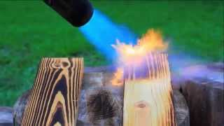 Flash Burning A Yellow Pine Wood Picnic Table
