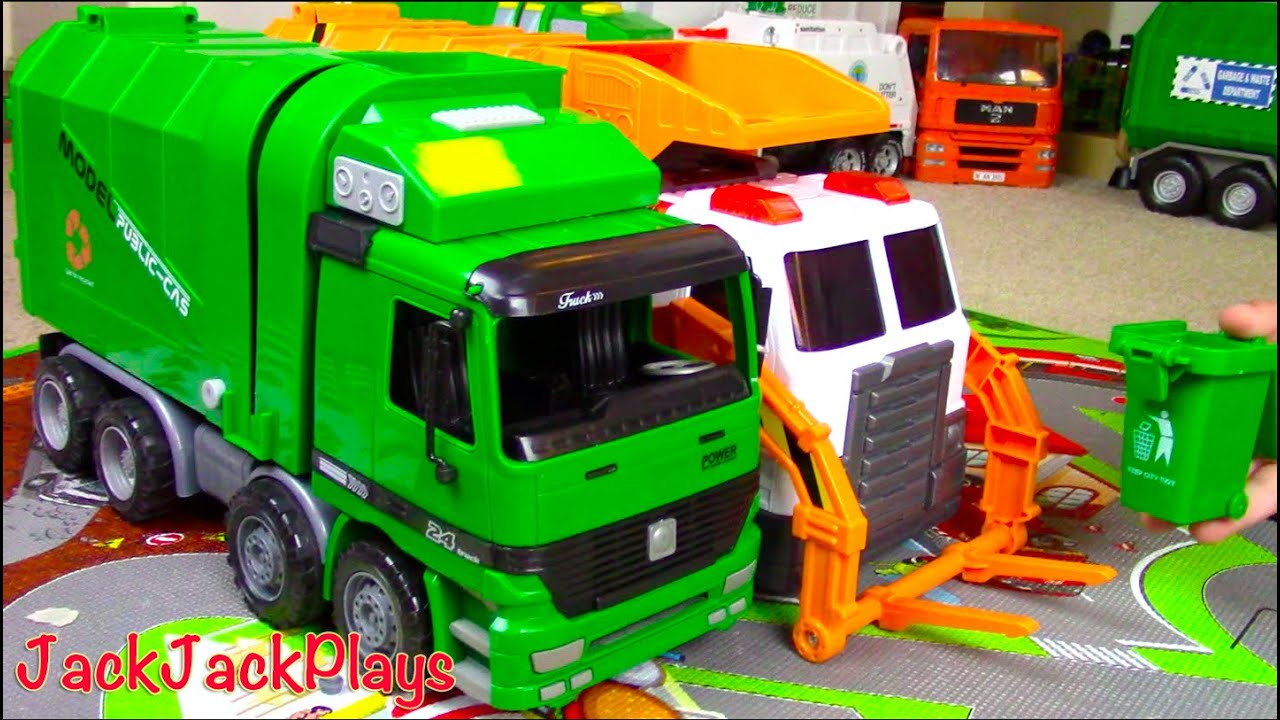 Download Garbage Truck Videos for Children: Green Kawo Toy UNBOXING - Jack Jack Playing with Lego Trash