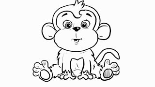 How to Draw a Cartoon Monkey for Kids Step by Step