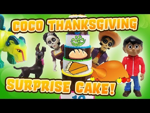 COCO Movie Thanksgiving Layer Cake Surprise Game with Miguel, Hector, Imelda!