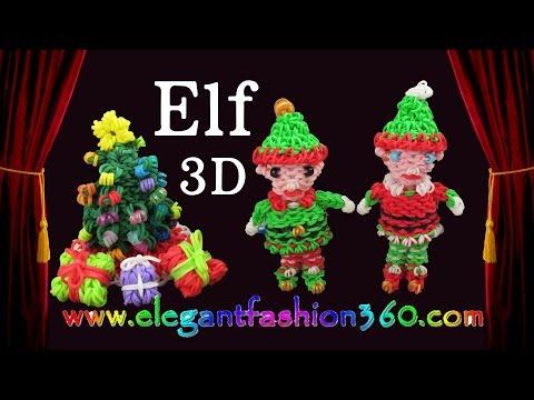 Rainbow Loom Elf/Elves Santa Helper 3D Charm/Christmas/Ornament/Santa Claus - How to Loom Bands