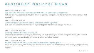 National News Headlines for 21 Jan 2019 - 8 AM Edition
