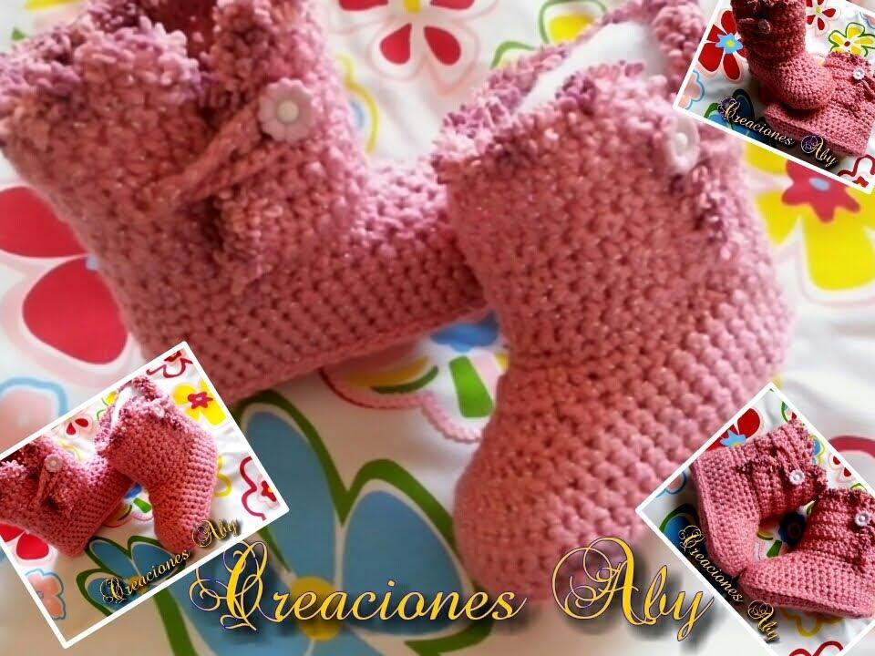 Botas Tejidas a Crochet 6-12 meses - YouTube