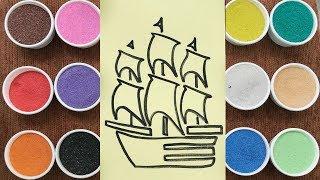 Chị Chim Xinh TÔ  MÀU TRANH CÁT CON THUYỀN CÁNH BUỒM - Đồ chơi trẻ em - Colored sand painting toys