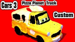 Pixar Cars 3 Custom Pizza Planet Delivery Truck Mater with Fabulous Miss Fritter , Lightning McQueen