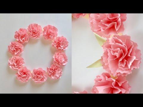 【折り紙】カーネーションのリース Paper Carnation Wreath