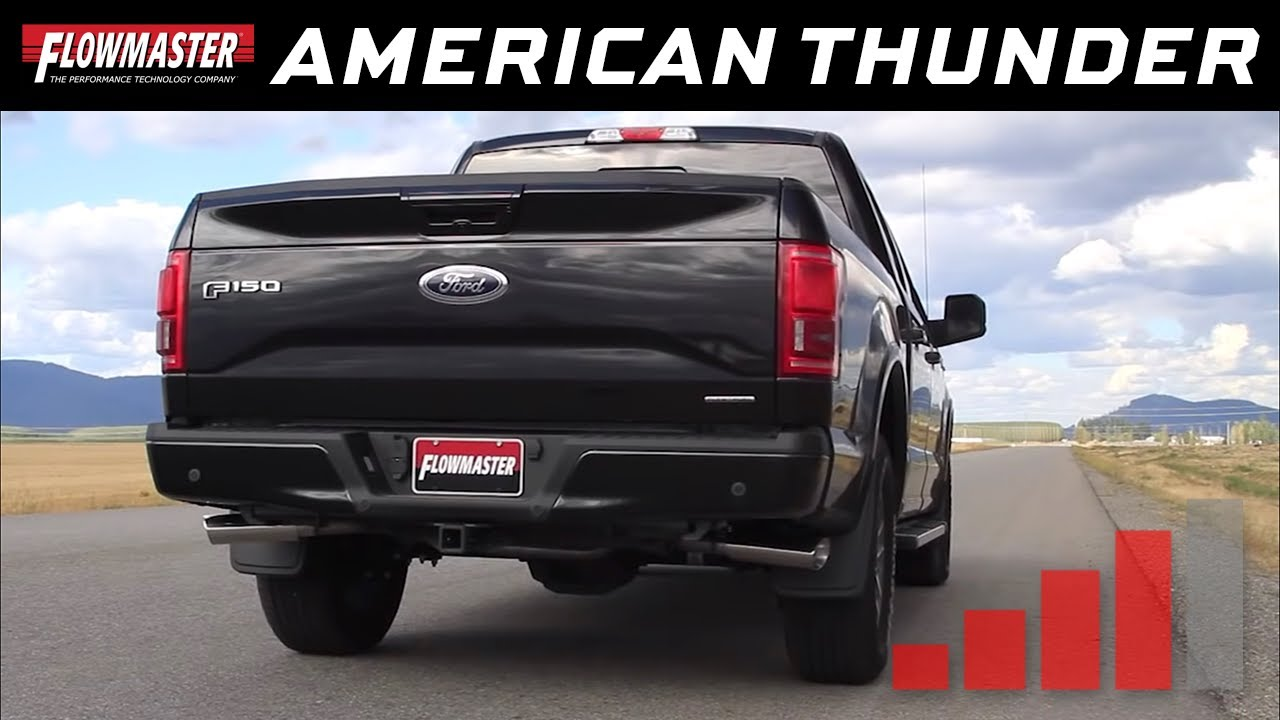 Flowmaster american thunder cat back exhaust system 2015 2018 ford f150 5 0l tivct 817725 youtube