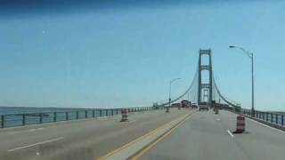 Mackinac Bridge and lake freighter